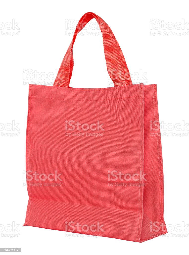 Red shopping bag (clipping path) stock photo
