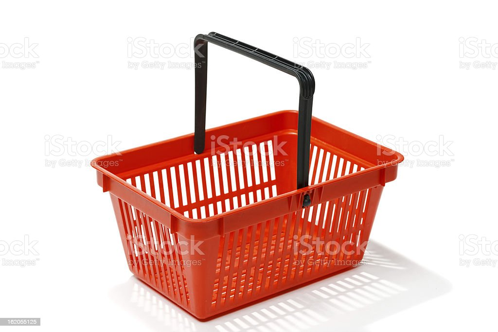 Red shopping basket stock photo