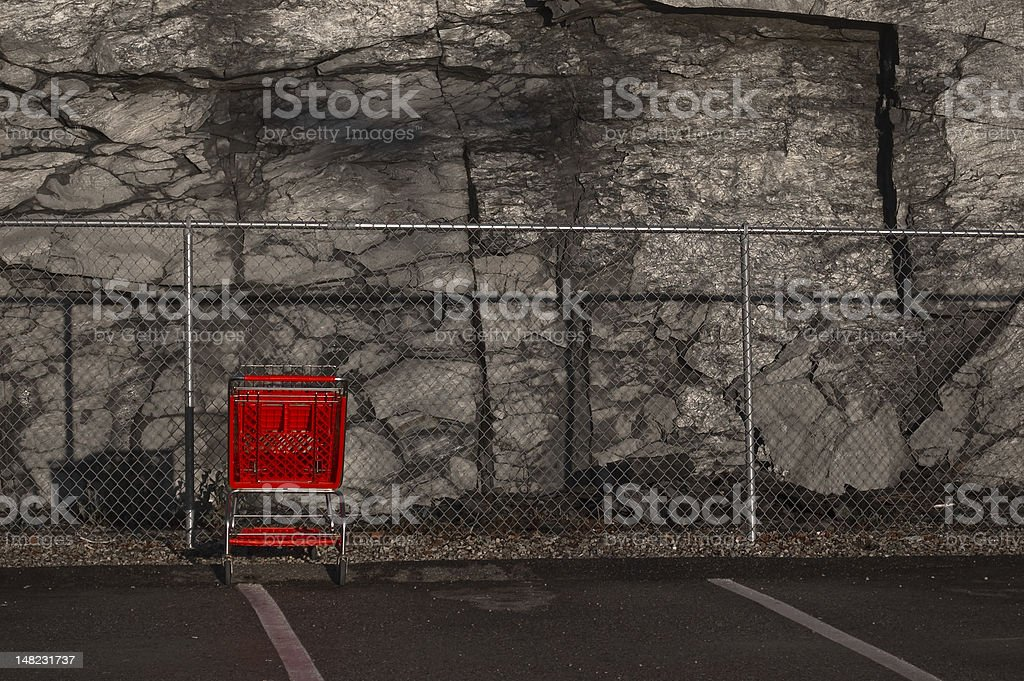 Red shopping cart royalty-free stock photo