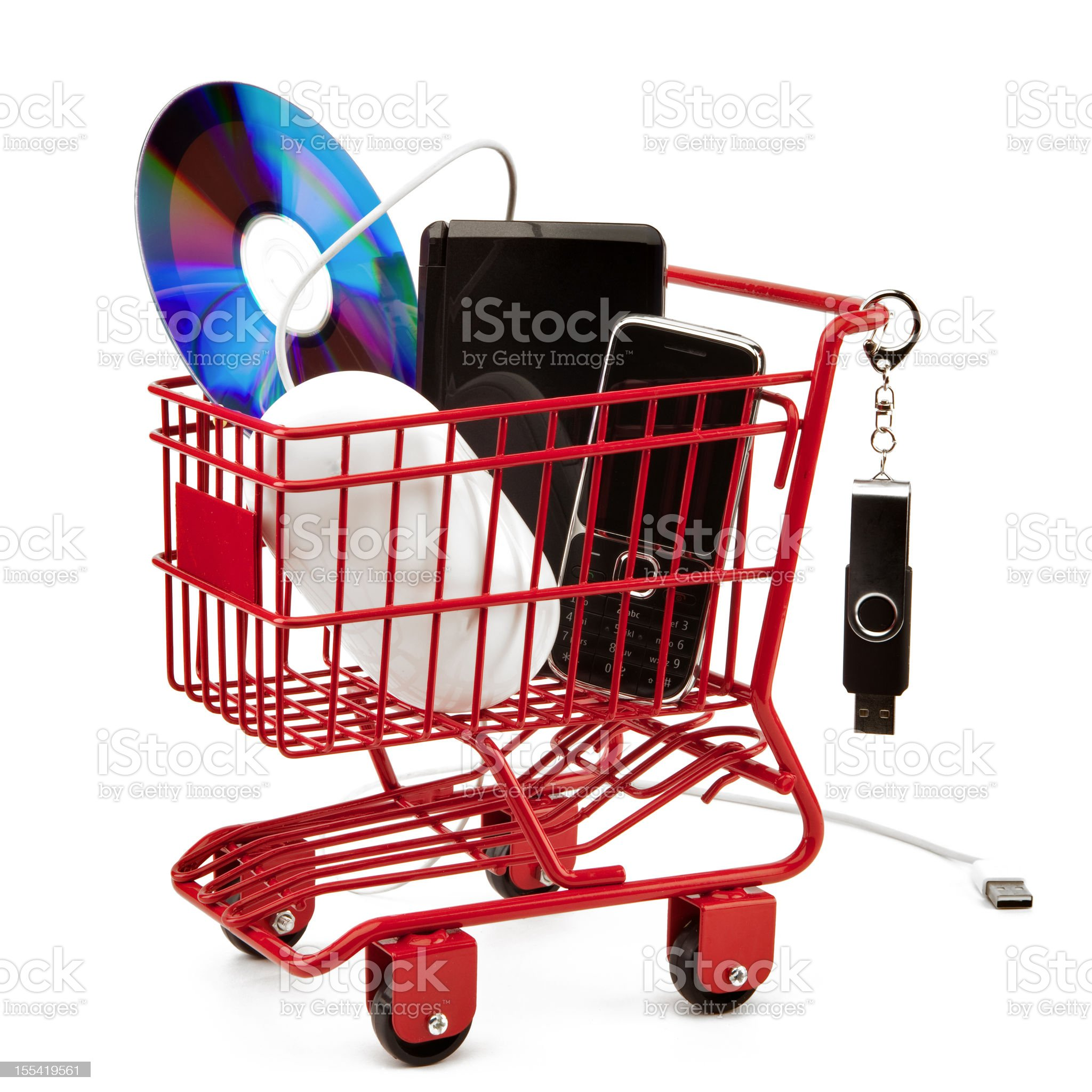 Red shopping cart series: Electronic Products royalty-free stock photo