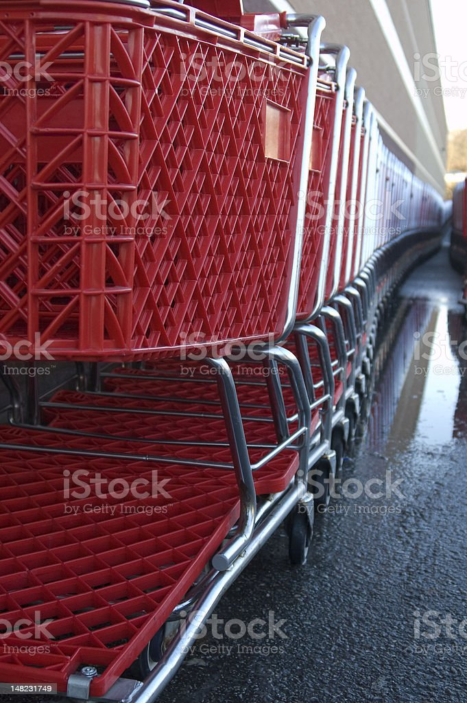 Red shopping carts royalty-free stock photo
