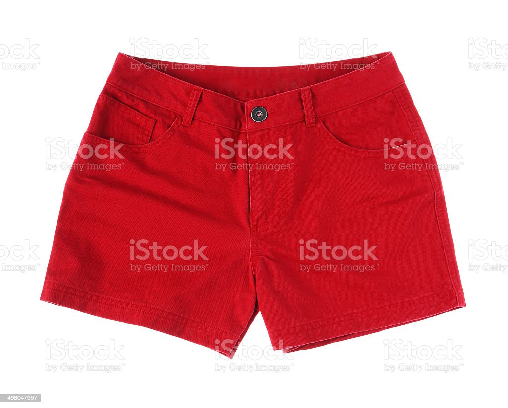 Red short pant isolated stock photo