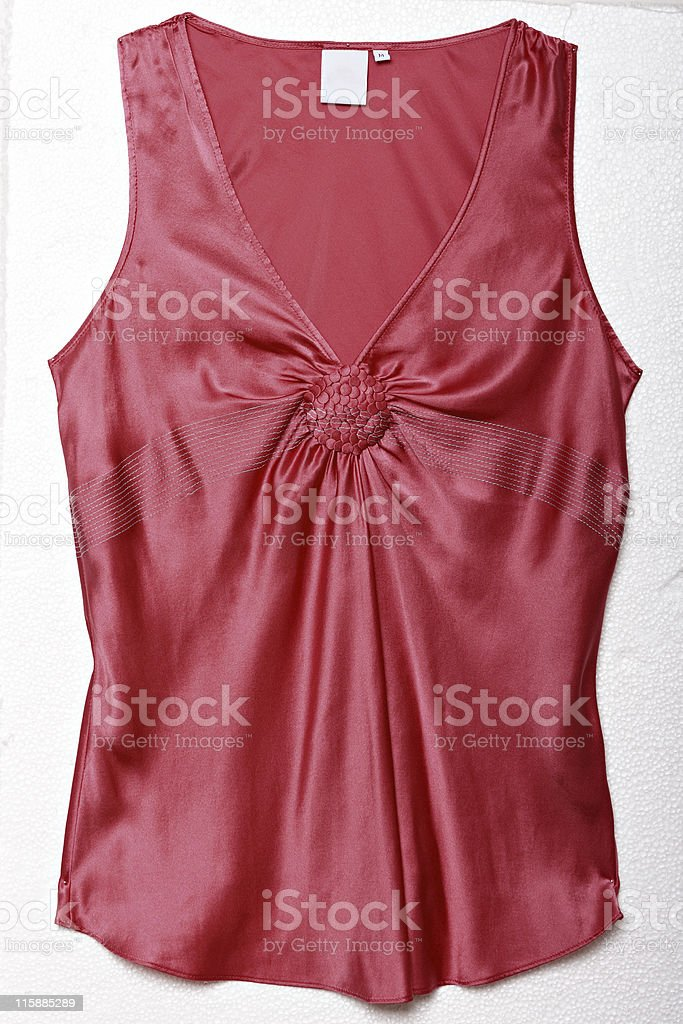 red silk blouse stock photo
