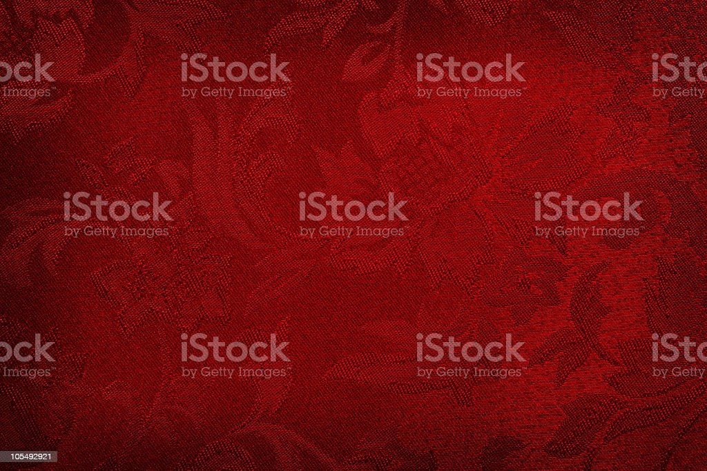 Red silk cloth with flower imprints stock photo