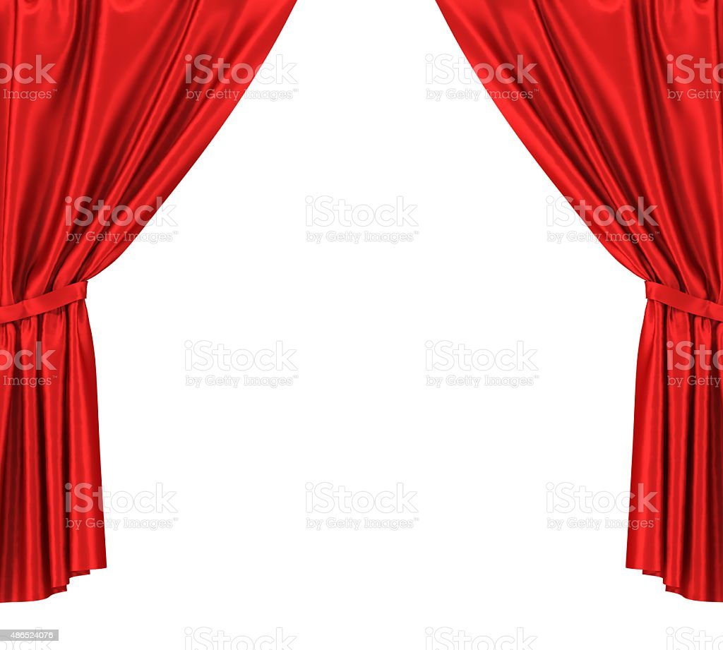 Red silk curtains with garter isolated on white background stock photo