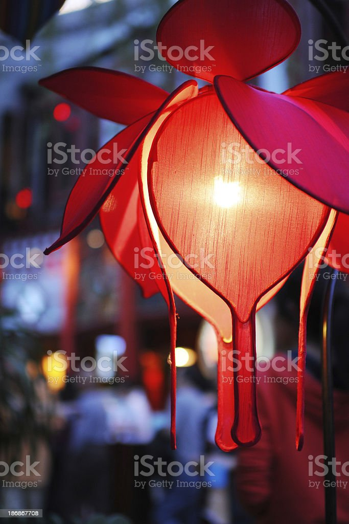 Red Silk Lotus Lantern at Night - XLarge royalty-free stock photo