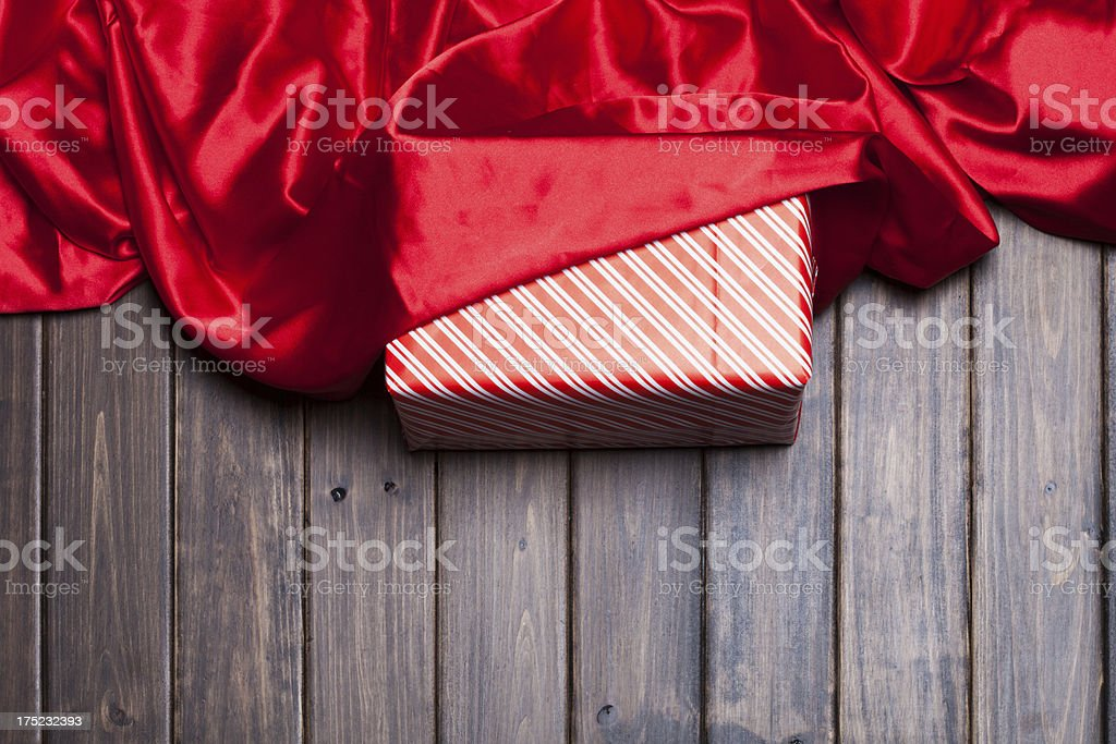 red silk over gift stock photo