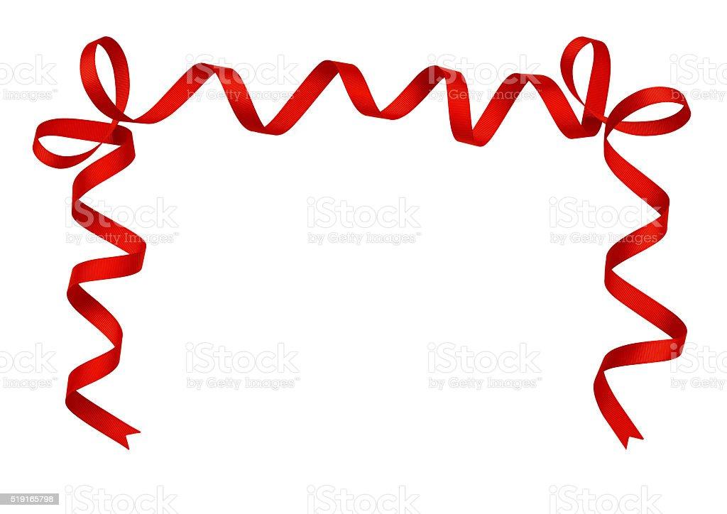 Red silk ribbon arrangement stock photo