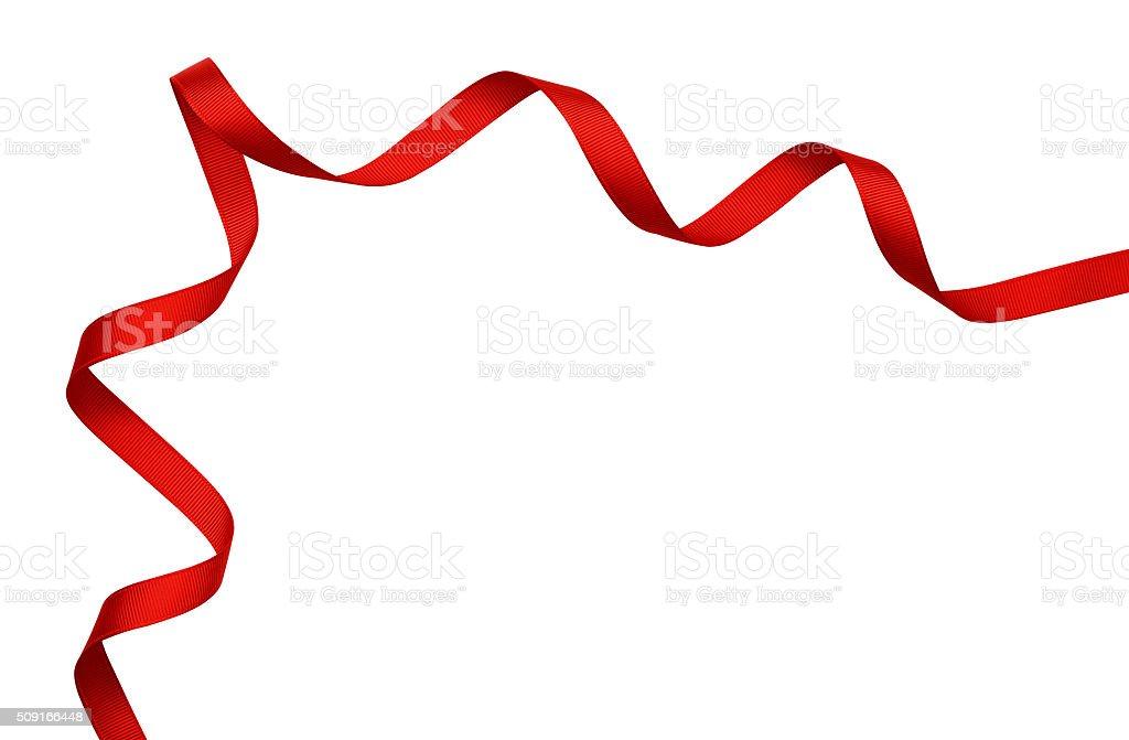 Red silk ribbon corner stock photo