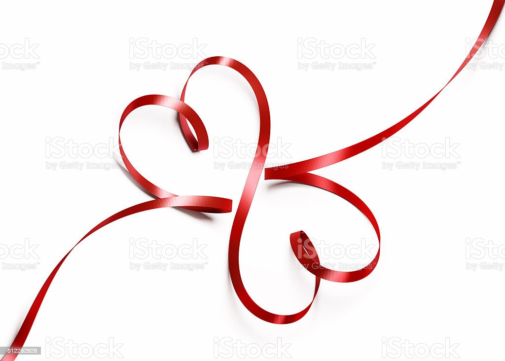 Red Silk Ribbon Forming Two Hearts stock photo