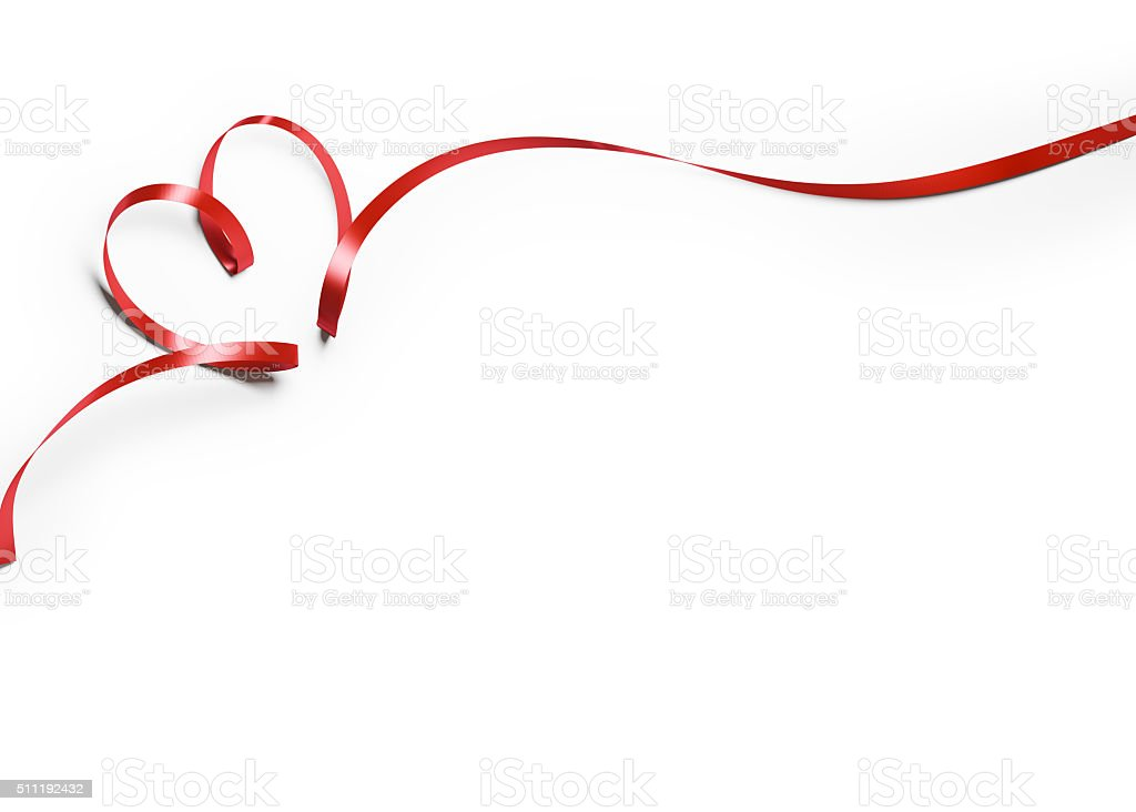 Red Silk Ribbon In Heart Shape On White Background stock photo