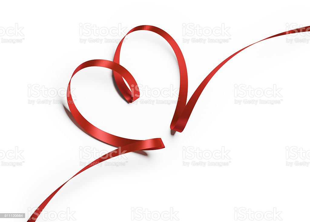 Red Silk Ribbon In Heart Shape stock photo