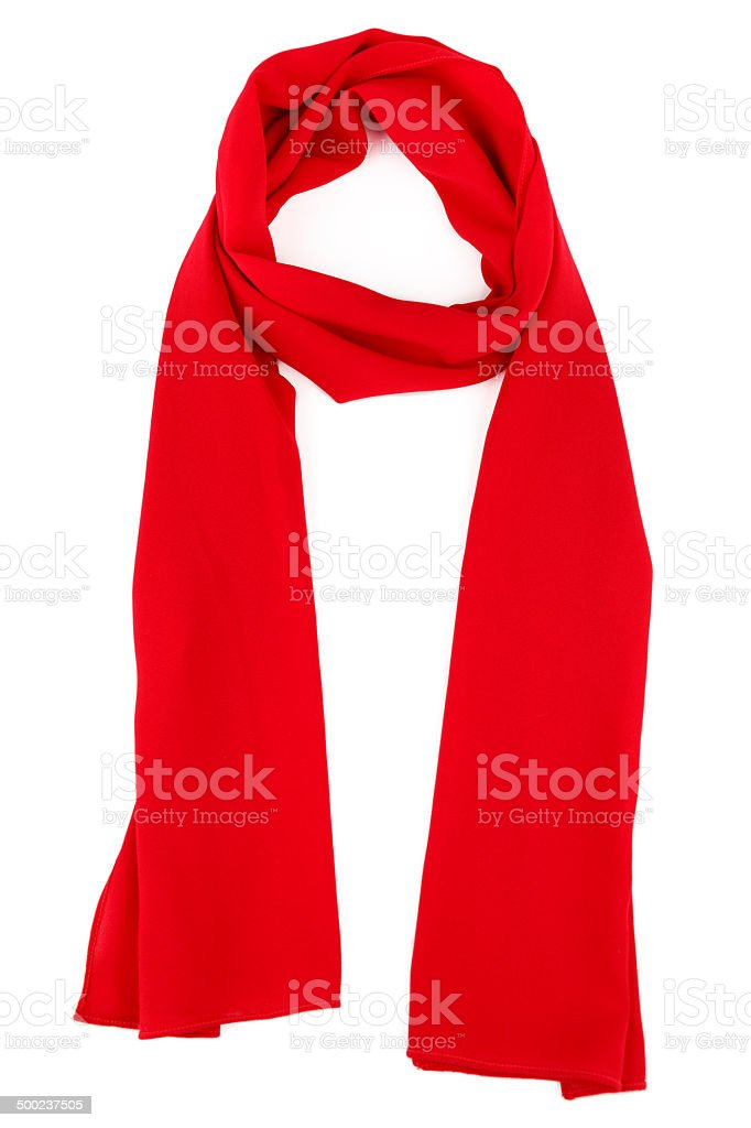 Red silk scarf stock photo