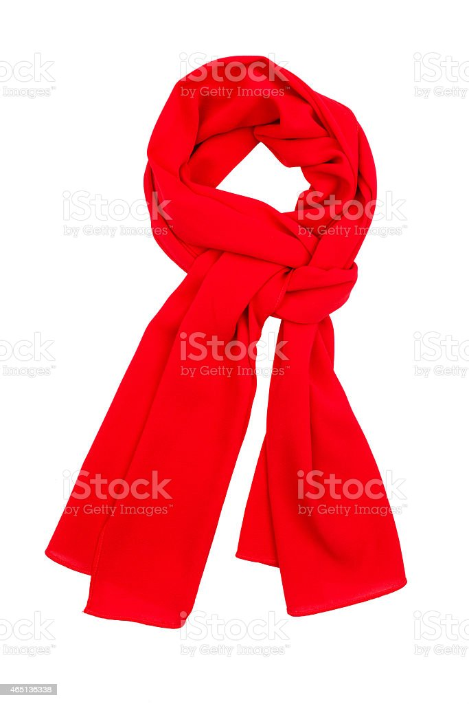 Red silk scarf tied up in a white background stock photo