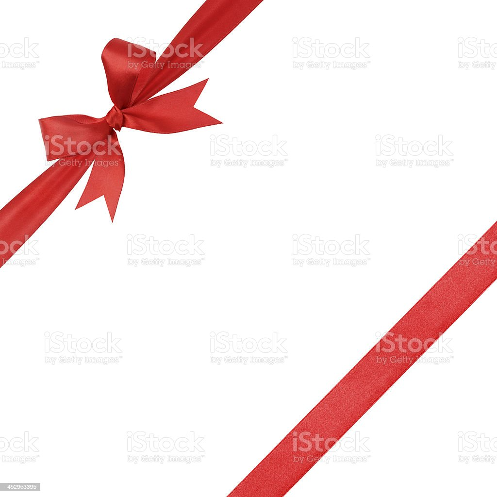 red simple tied ribbon bow composition stock photo