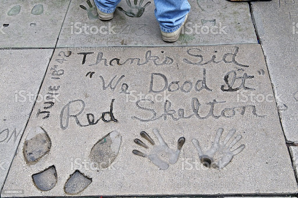 Red Skelton Handprints Footprints at Grauman's Chinese Theatre royalty-free stock photo