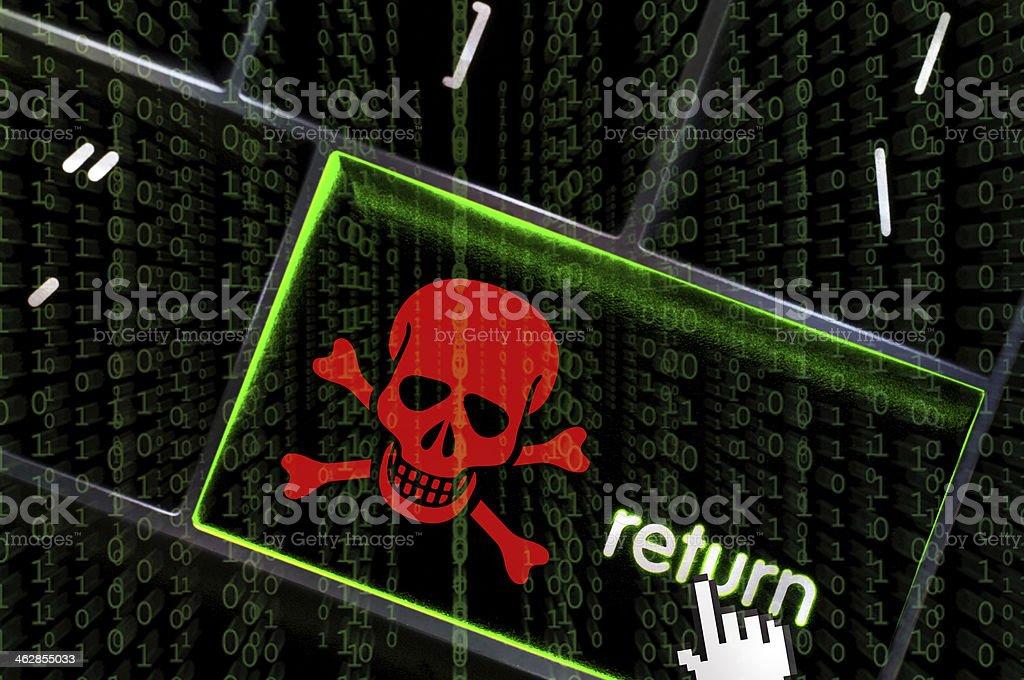 Red skull and cross bones depicted on the return key stock photo