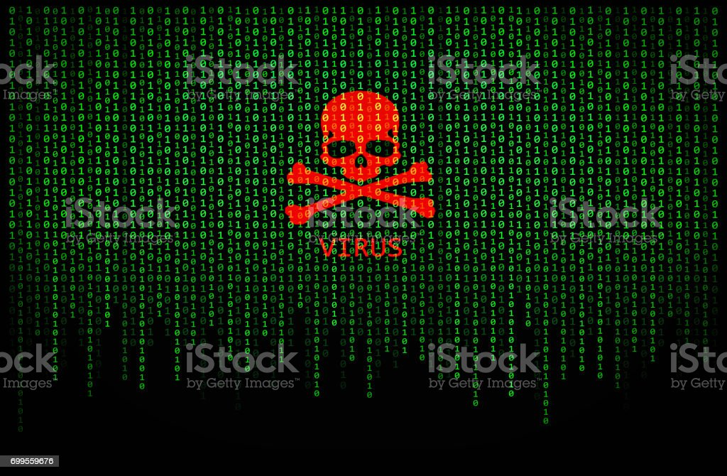 Red skull virus on binary computer code stock photo