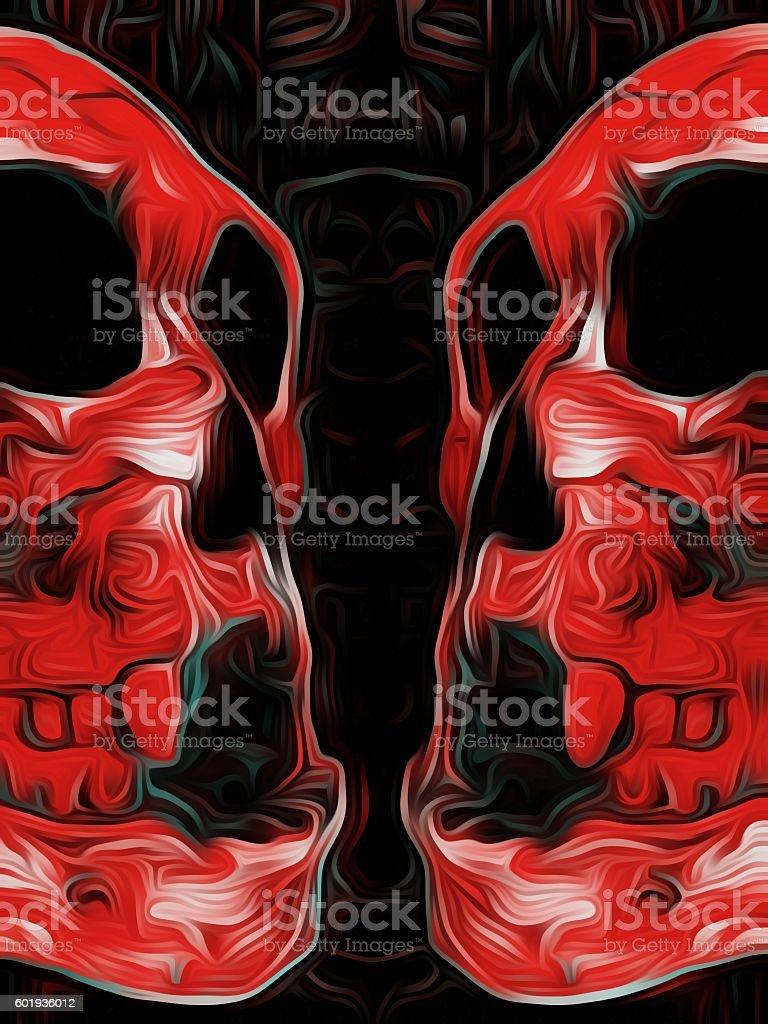 red skull with black background stock photo