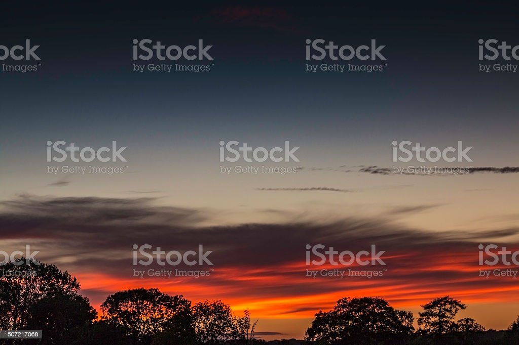 Red sky at night stock photo