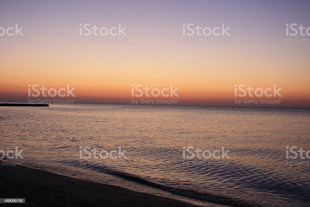 Red sky before sunrise on the Black Sea royalty-free stock photo