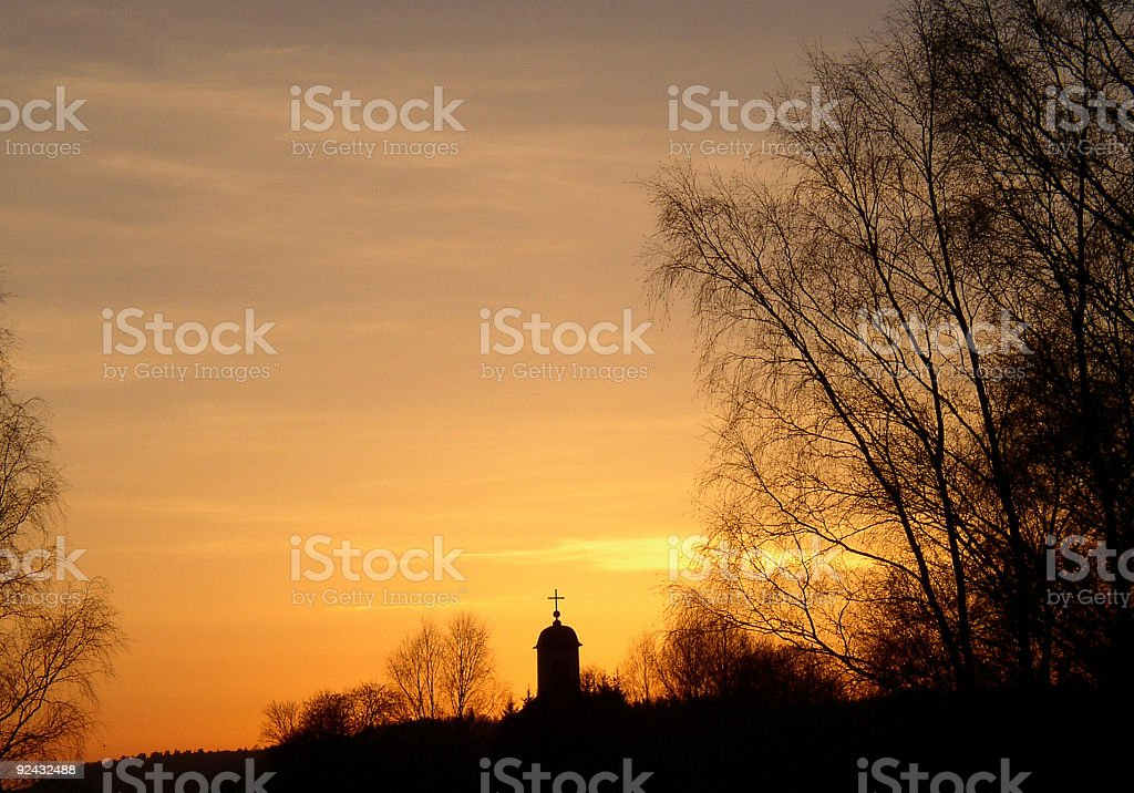 Red sky church royalty-free stock photo