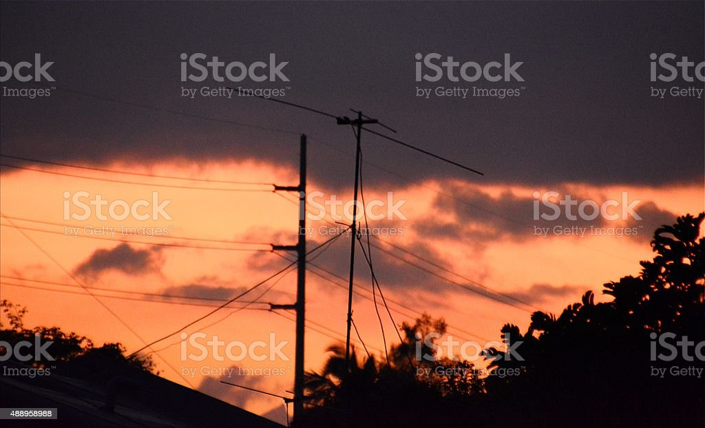 Red sky over Lake Taal rim, Tagaytay Philippines stock photo