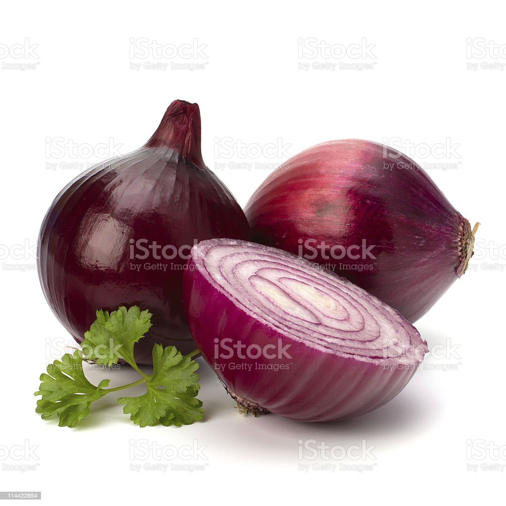 Red sliced onion and fresh parsley stock photo