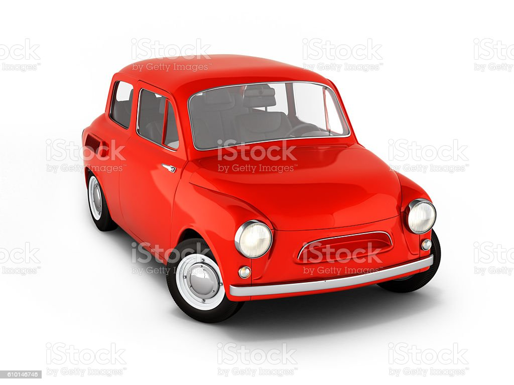 red small retro car isolated on white background 3d stock photo
