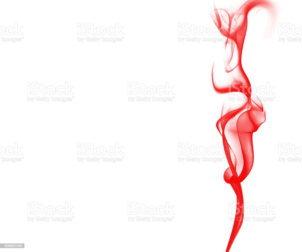 Red smoke on  white background stock photo