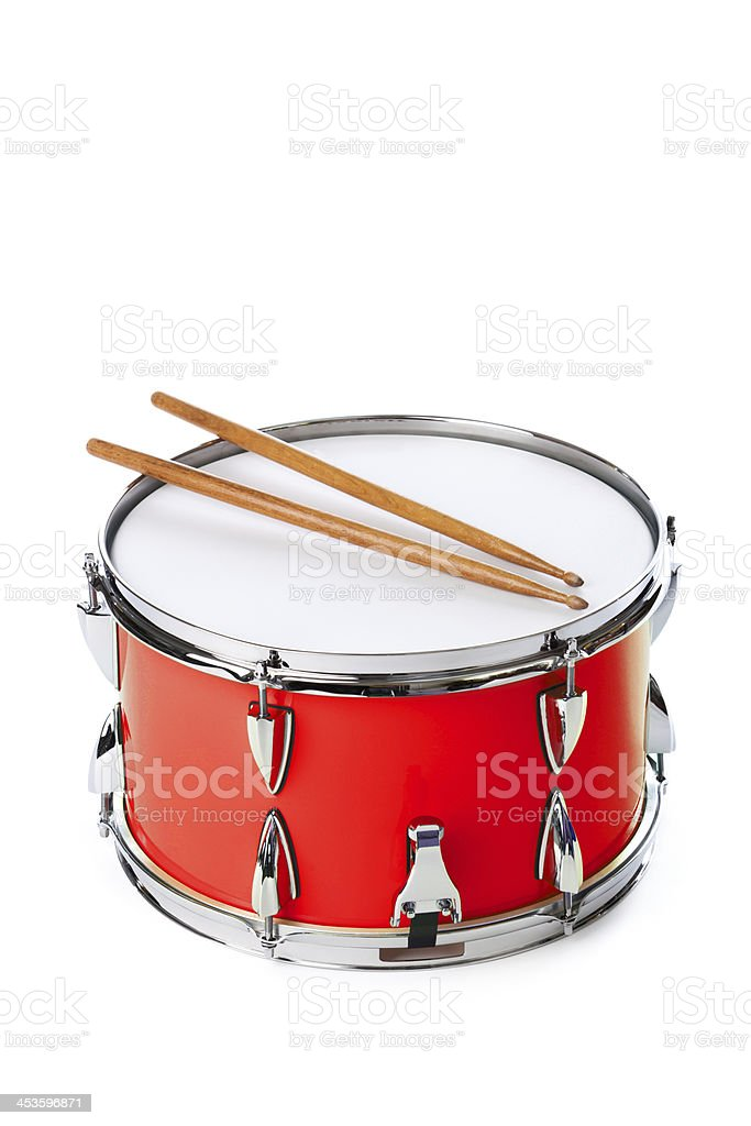Red Snare Drum with Sticks Isolated on White Background stock photo