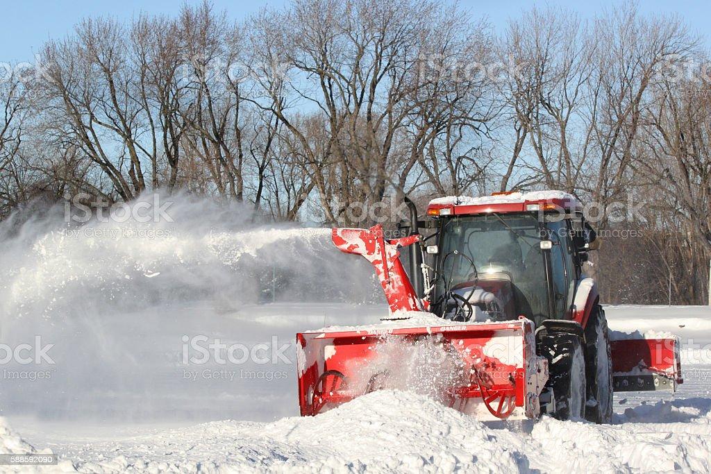 Red snow blower stock photo