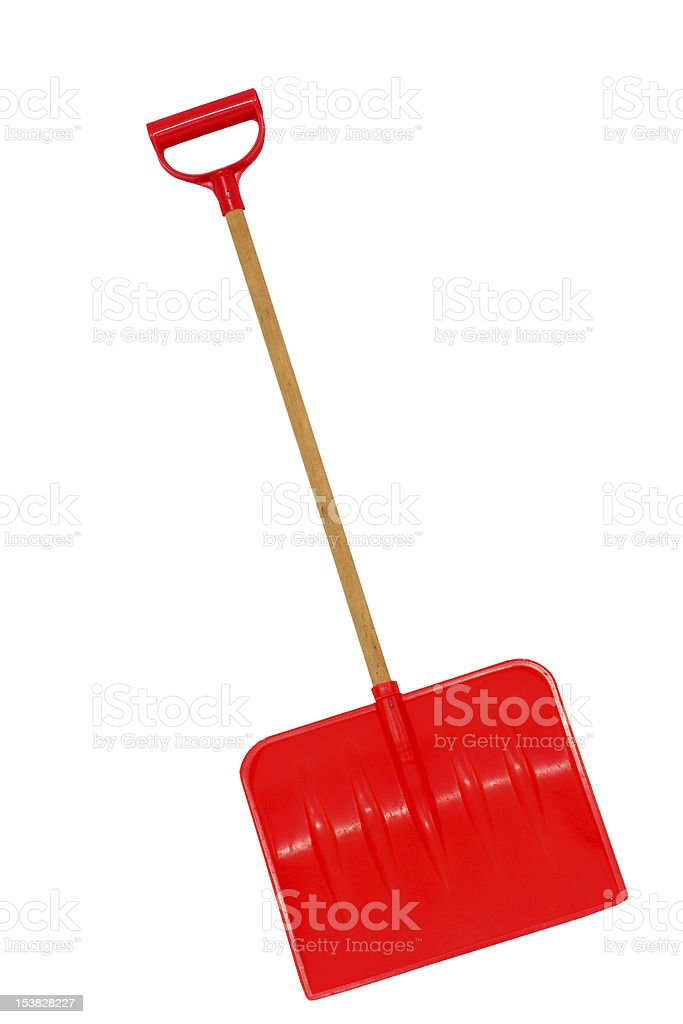 Red snow shovel isolated on a white background royalty-free stock photo