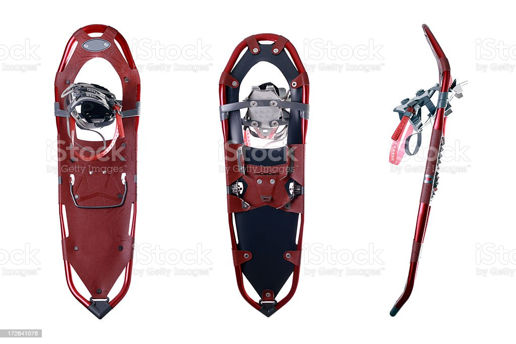 Red Snowshoes Isolated on White Background stock photo