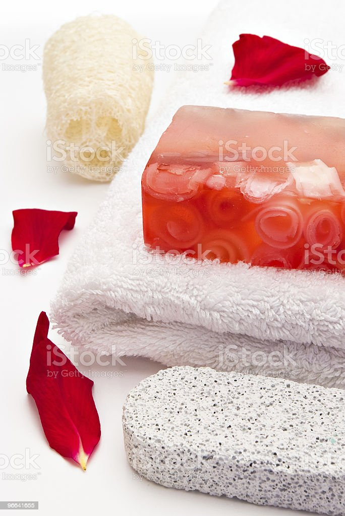 red soap towel stock photo