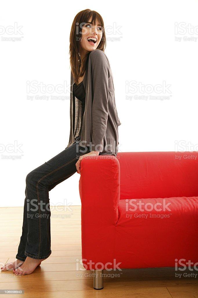 Red Sofa Beauty stock photo