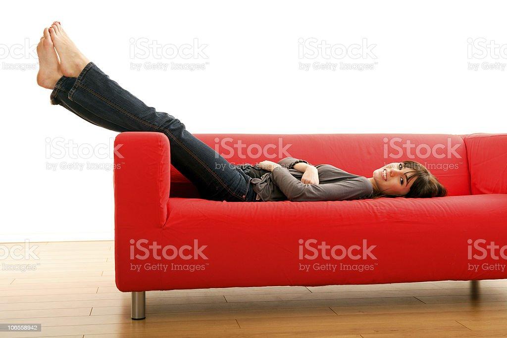 Red Sofa Beauty royalty-free stock photo