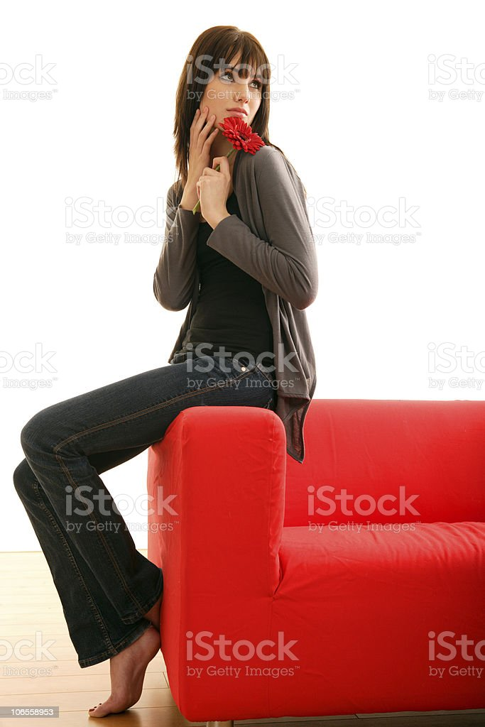 Red Sofa Beauty royalty-free stock photo
