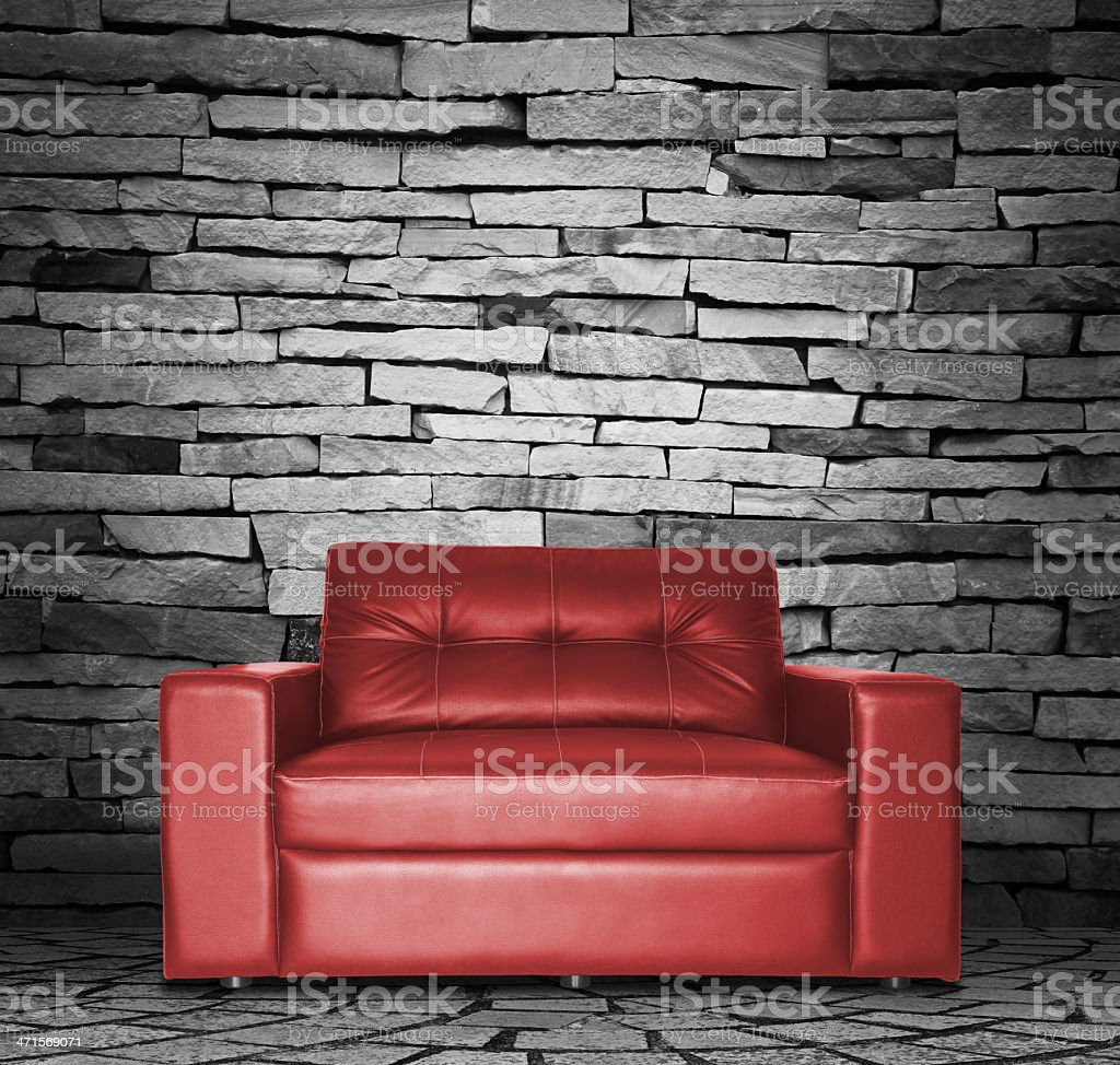 Red sofa in the room royalty-free stock photo