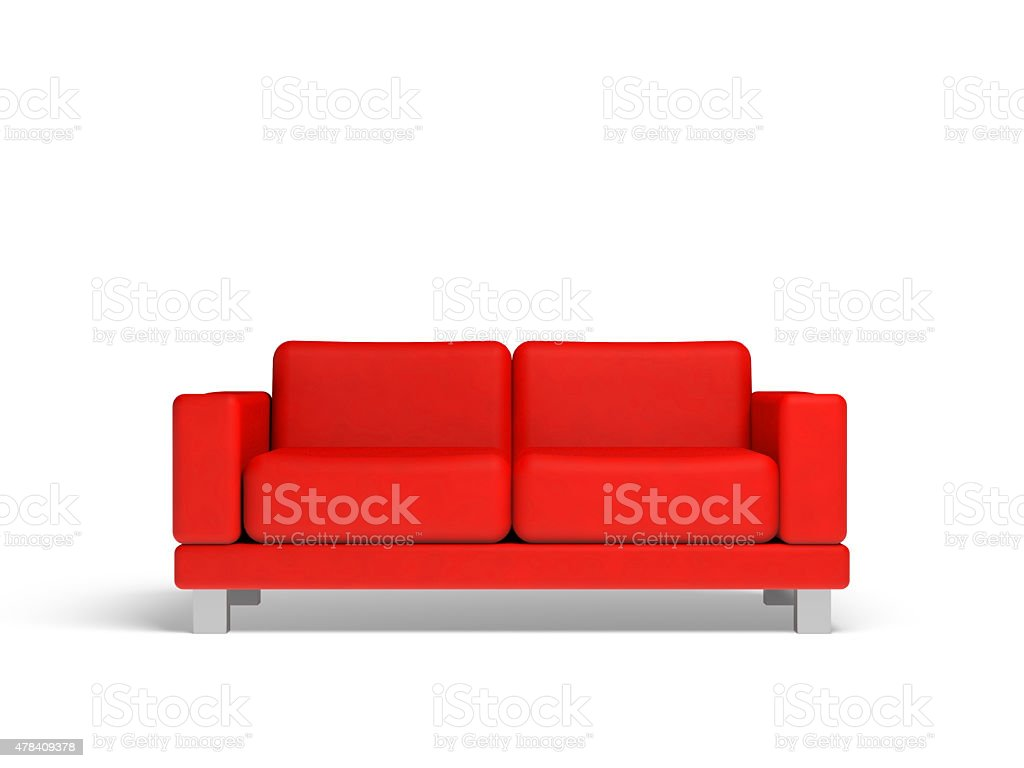 Red sofa isolated on white empty interior background stock photo