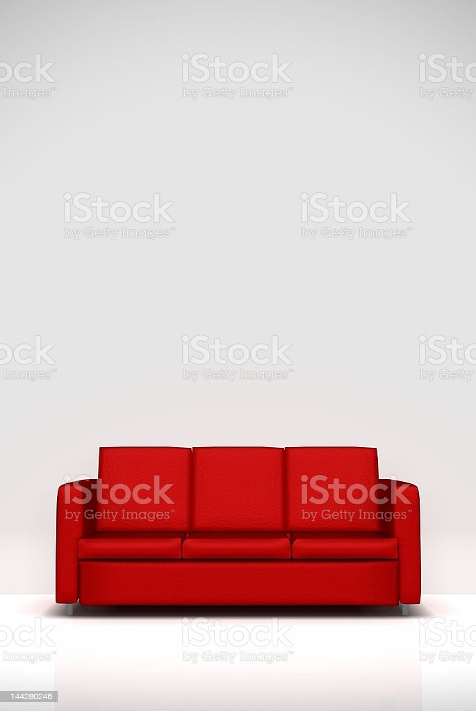 red sofa vector art illustration