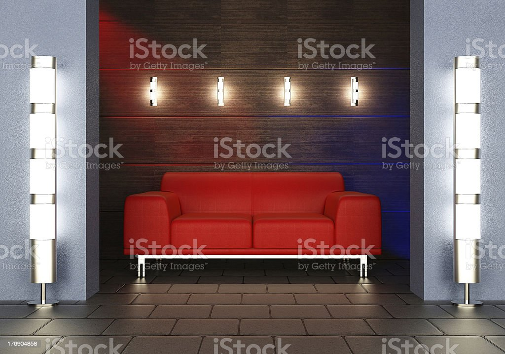 Red sofa royalty-free stock photo