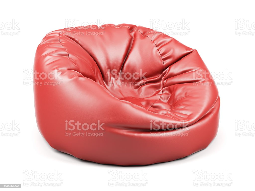 Red soft leather beanbag isolated stock photo