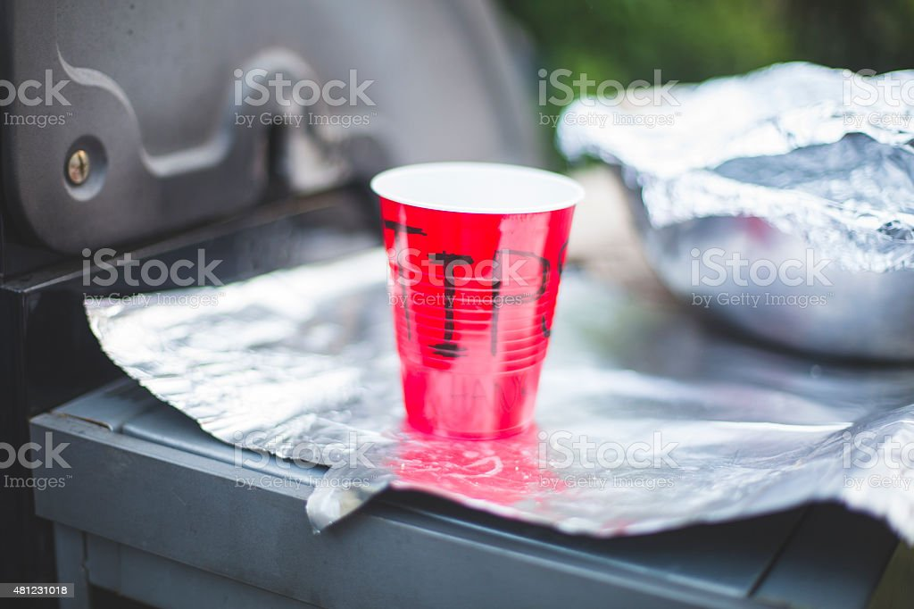 TIPS Red Solo Cup at Barbeque stock photo