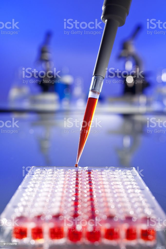 Red Solution Scientific Research With a Pipette and Cell Plate royalty-free stock photo