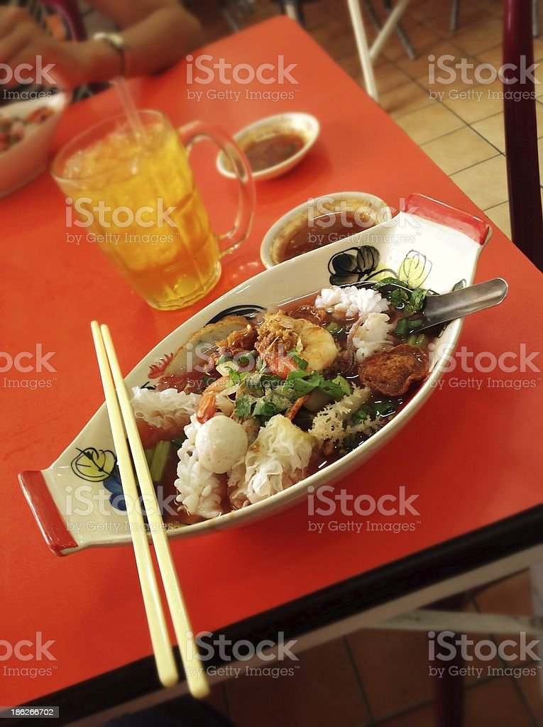 Red soup noodle with seafood royalty-free stock photo