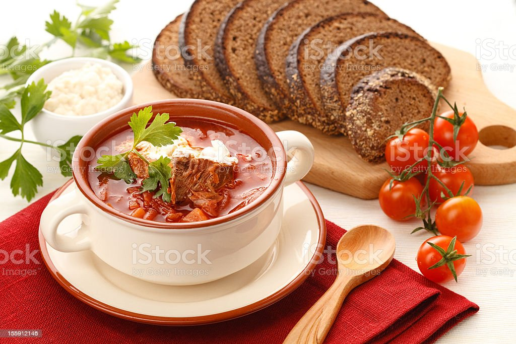 Red soup with herbs & spice royalty-free stock photo