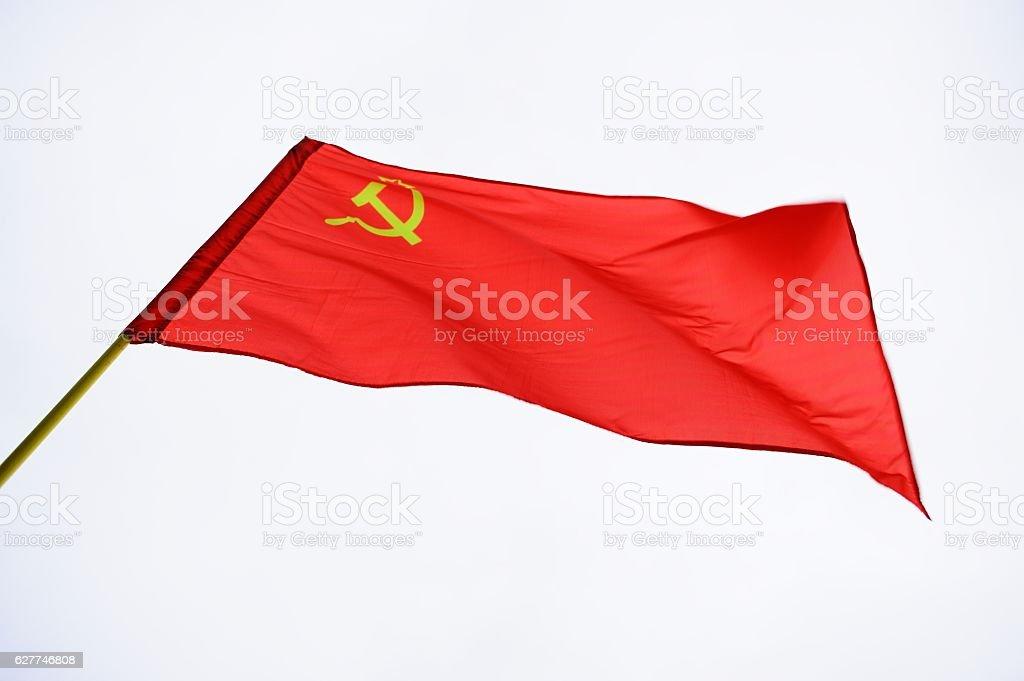 Red Soviet flag stock photo