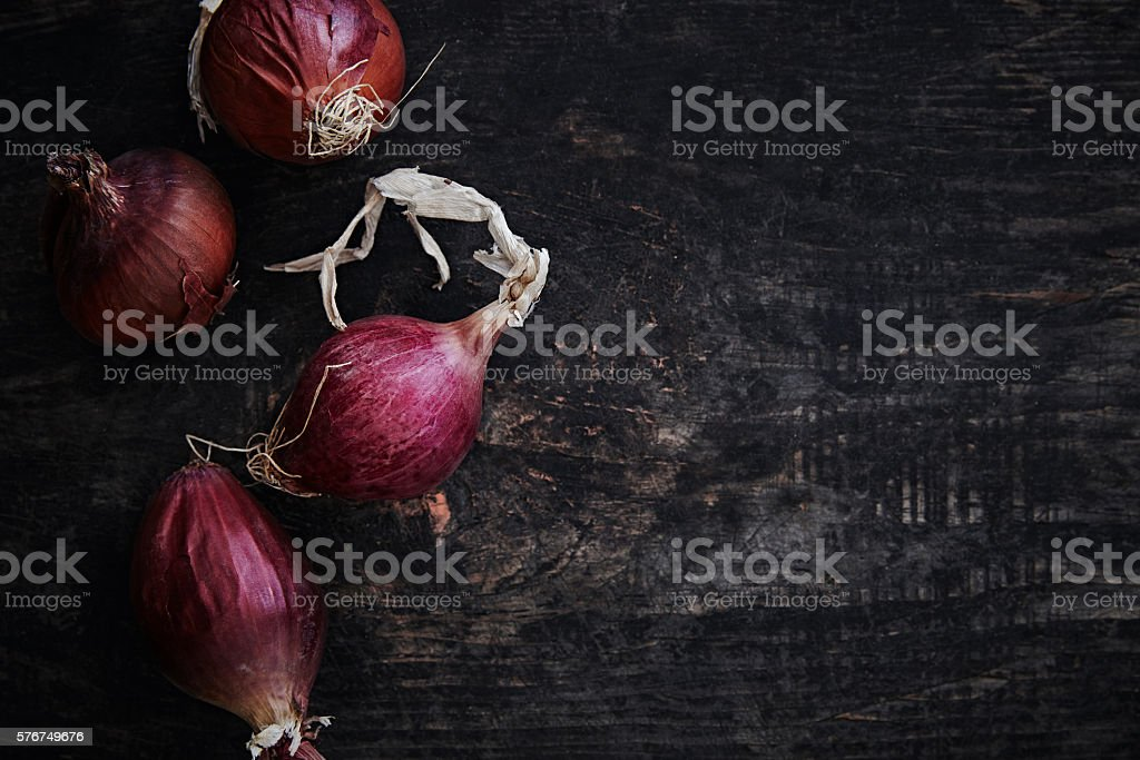 Red spanish onions stock photo