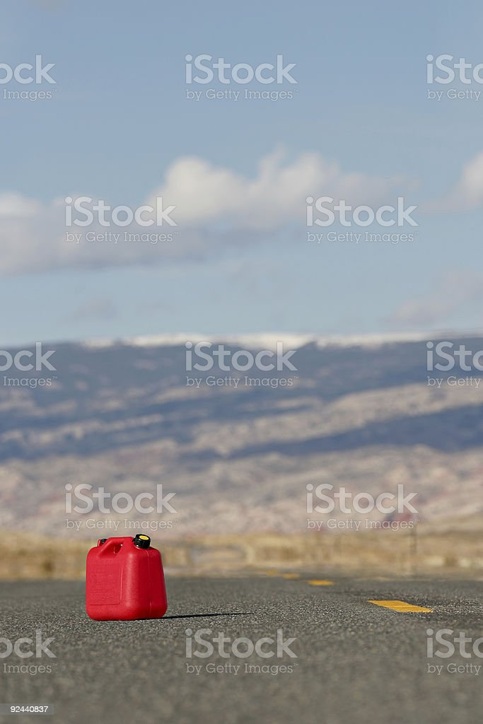red spare gas tank stock photo